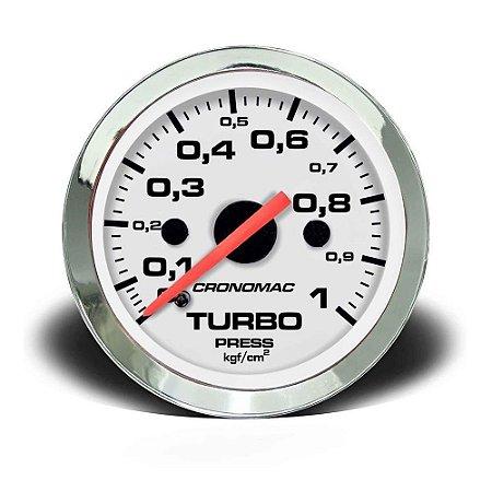9f0d9da1843 Manômetro 52mm Turbo 1kg Cromado Branco - GTO SHOP