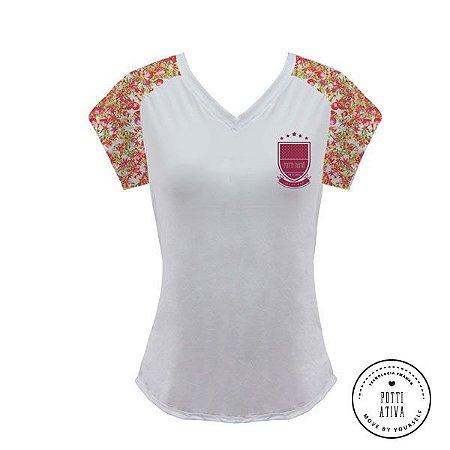 Camisa Esportiva Branco/ Flor de Romã