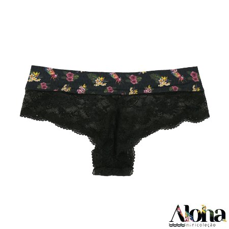 Mini Coleção Aloha :  Calcinha Thai Renda Arara Viva / Preto