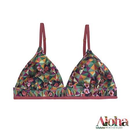 Mini Coleção Aloha : Sutiã Brownie Fluity Hibisco Tropical / Rosa Astromelia