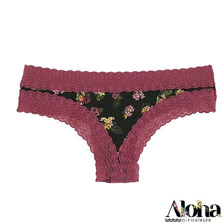 Mini Coleção Aloha : Calcinha Biquinho de Fluity Arara Viva / Rosa Astromelia