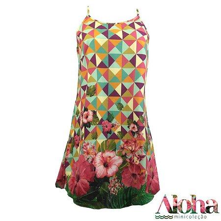 Mini Coleção Aloha : Vestido Potti Hibisco Tropical