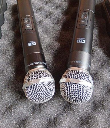 Microfone sem fio duplo UHF profissional MXT UHF-302