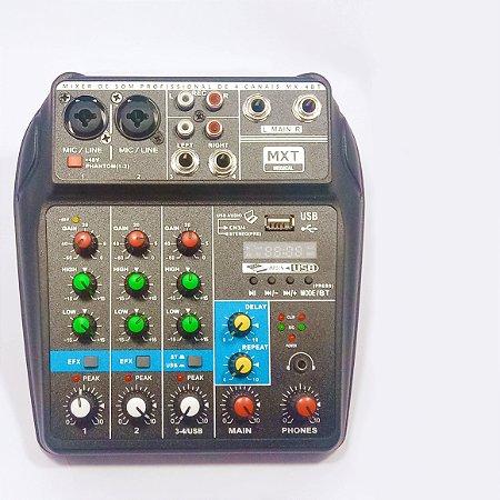Mini mesa de som MXT  mixer 4 canais com bluetooth e phantom power MX-4BT