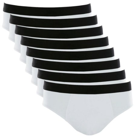 Kit com 8 Cuecas Slip Cotton Basic Masculina Part.B Branco