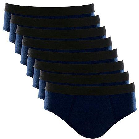 Kit com 8 Cuecas Slip Cotton Basic Masculina Part.B Azul Marinho