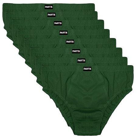 Kit com 8 cuecas Slip Masculina Part.B Verde