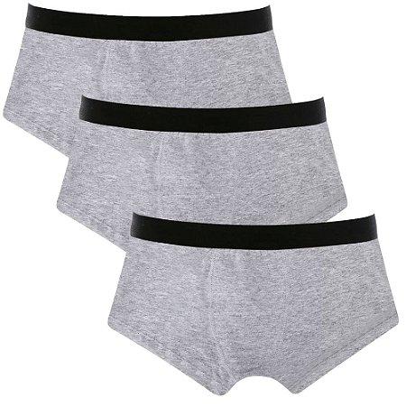 Kit com 3 Cuecas Sunga Cotton Basic Masculina Part.B Cinza