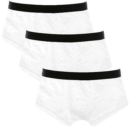 Kit com 3 Cuecas Sunga Cotton Basic Masculina Part.B Branco