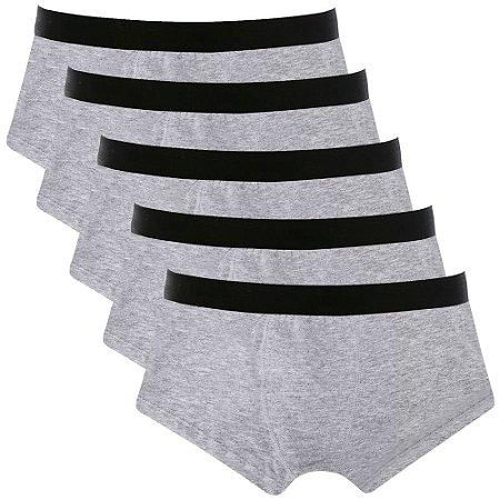 Kit com 5 Cuecas Sunga Cotton Basic Masculina Part.B Cinza