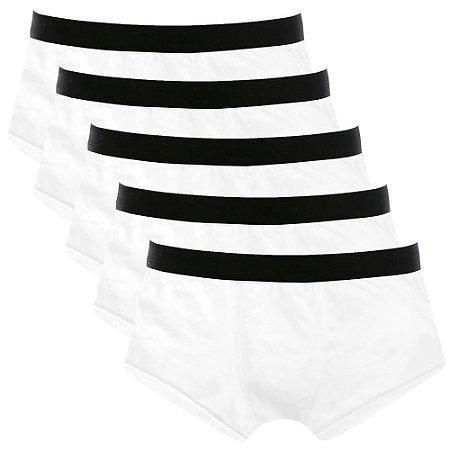 Kit com 5 Cuecas Sunga Cotton Basic Masculina Part.B Branco
