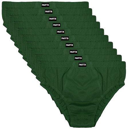 Kit com 10 Cuecas Slip Infantil Part.B Verde
