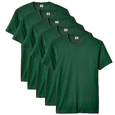 Kit com 5 Camisetas Masculina Básica Algodão Part.B Premium Verde