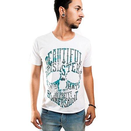 Camiseta Masculina T-Shirt Gola a Laser Estampada Branca Beautiful
