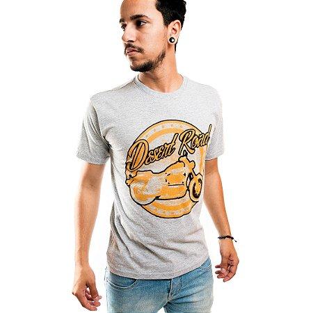 Camiseta Masculina T-Shirt Gola Normal Estampada Cinza Desert Road