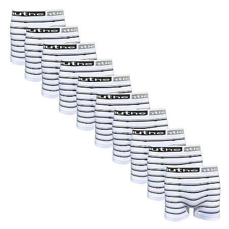 KIT 10 CUECAS BOXER MICROFIBRA Listradas Sem Costura Authentica