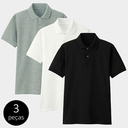Kit com 3 Camisas Polo Part.B Regular Piquet Colors
