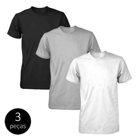 Kit 3 Camisetas Básicas Fit Part.B Masculina Colors Light