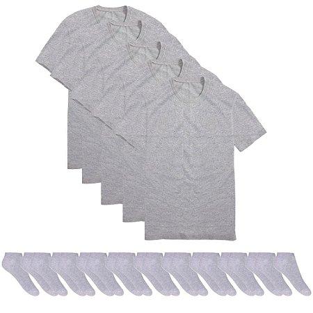 Kit 5 Camisetas Básicas Masculina T-shirt Algodão + 10 Pares De Meias Soquete Cinzas