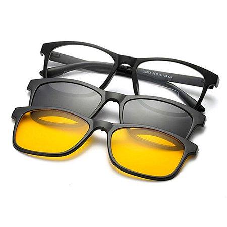 28e10b3dc811c Armação para óculos de grau sol com 2 lentes Clip On Polarizadas ...