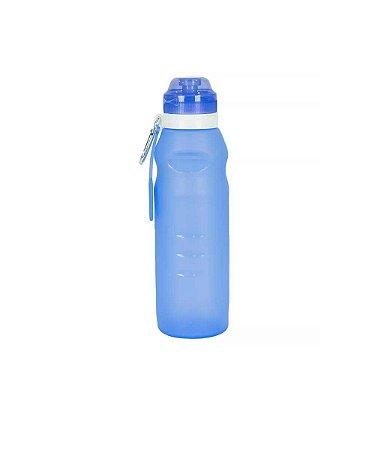 Squeeze Garrafa em Silicone Oumai Dobrável 600 Ml com Mosquetão Azul