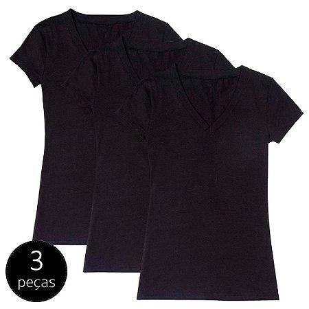 Kit com 3 Blusas Femininas Part.B Decote V Preta