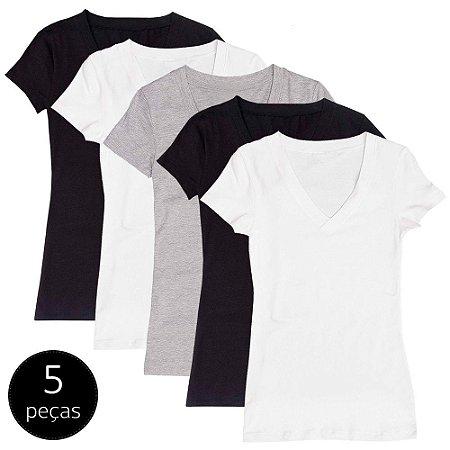 Kit com 5 Blusas Femininas Part.B Decote V Colors