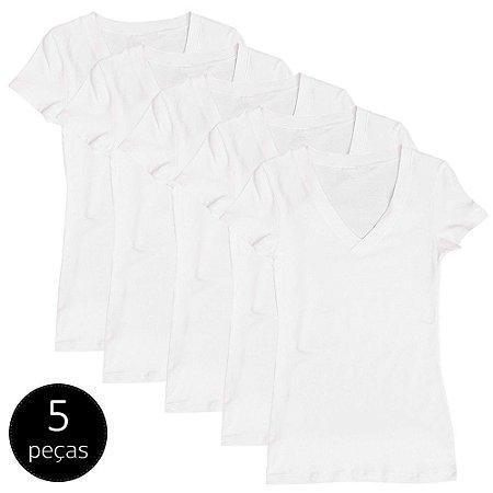 Kit com 5 Blusas Femininas Part.B Decote V Branca