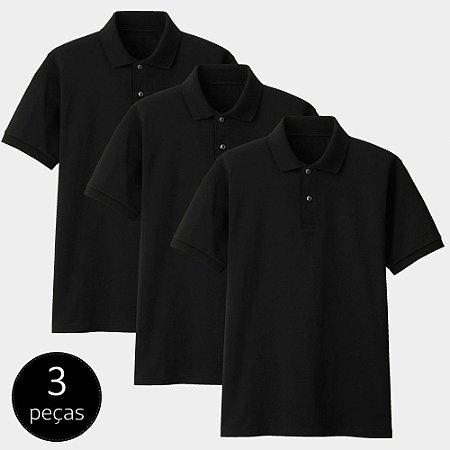 Kit com 3 Camisas Polo Part.B Regular Piquet Preta