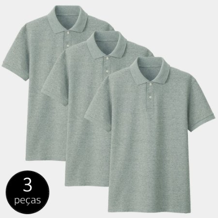 Kit com 3 Camisas Polo Part.B Regular Piquet Cinza