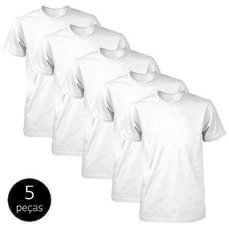 Kit 5 Camisetas Básicas Fit Part.B Masculina Branca