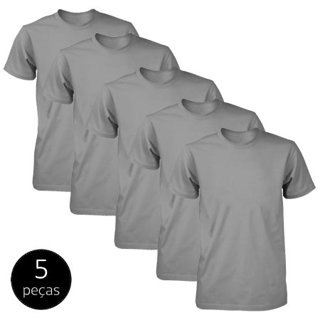 Kit 5 Camisetas Básicas Fit Part.B Masculina Chumbo