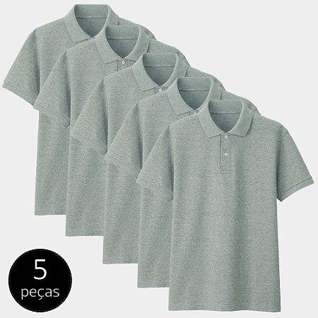 Kit com 5 Camisas Polo Part.B Regular Piquet Cinza