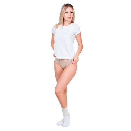 Kit com 5 Blusas Gola Redonda 10 Calcinhas Fio Dental e 10 Pares de Meias Esportivas Feminino Part.B Verão