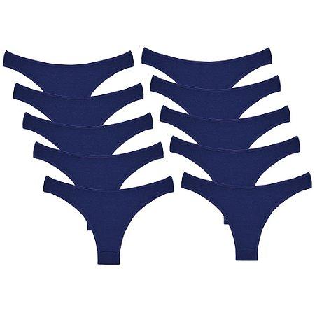 Kit com 10 Calcinhas Conforto de Algodão Modelo Tanga Azul