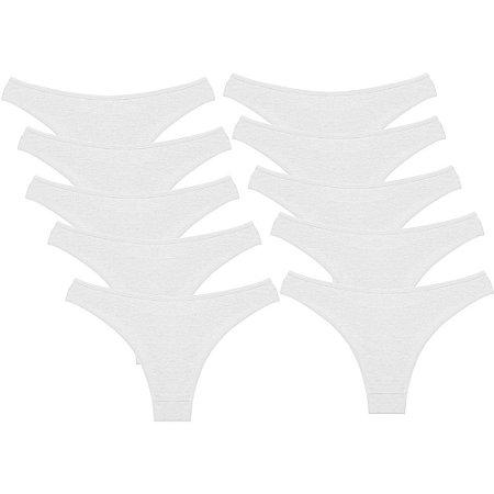 Kit com 10 Calcinhas Conforto de Algodão Modelo Fio Dental Branca