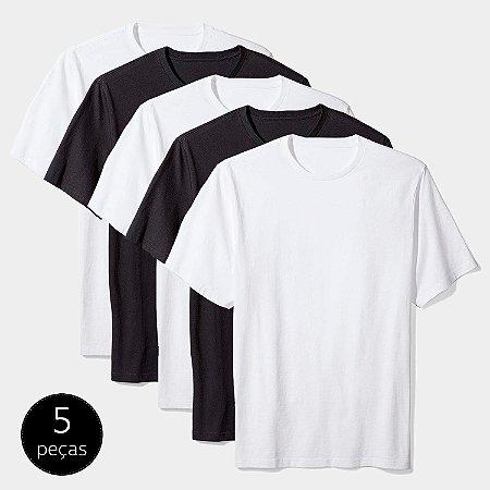 Kit Camiseta Básica c/ 5 Peças Masculina Multicor
