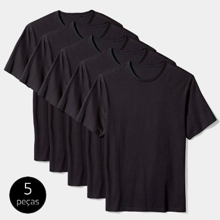 Kit Camiseta Básica c/ 5 Peças Masculina Preta