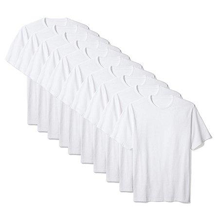 Camiseta Básica Masculina Algodão Kit 10 Peças Branco
