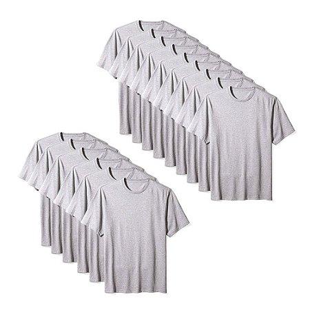 Camiseta Básica Masculina Algodão Kit 15 Peças Cinza