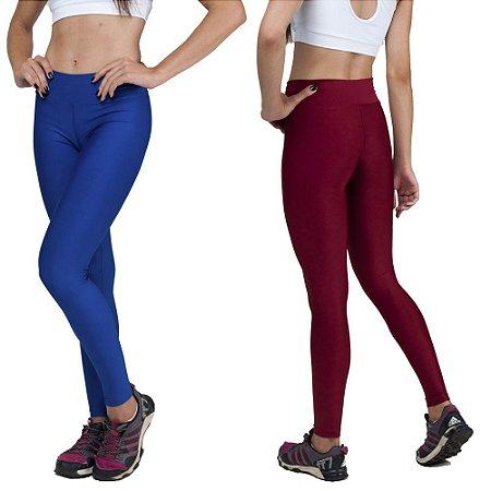 Kit com 2 Calças Legging Básica Suplex Azul e Vermelho