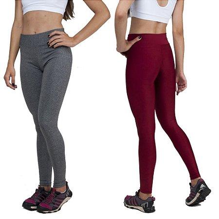 Kit com 2 Calças Legging Básica Suplex Cinza e Vermelho