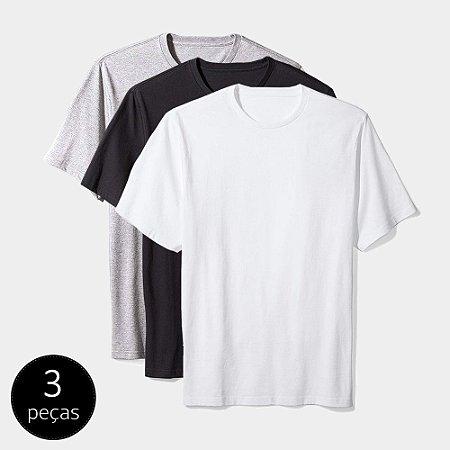 Camiseta Básica Masculina Algodão Kit 3 Peças Colors