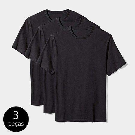Camisetas Básica Masculina Algodão Kit 3 Peças Preta