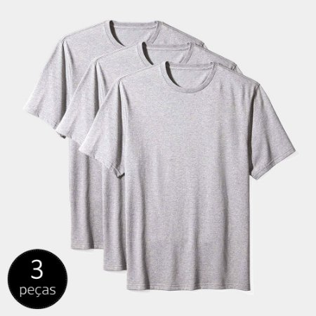 Camiseta Básica Masculina Algodão Kit 3 Peças Cinza