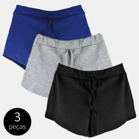 Kit 3 Shorts Canelado Fashion Feminino
