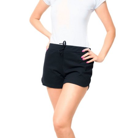 Short Canelado Fashion Feminino Preto