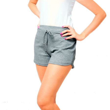 Shorts Canelado Fashion Feminino Cinza
