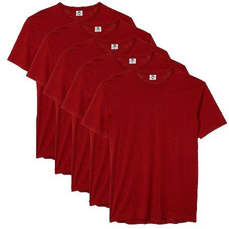Kit com 5 Camiseta Masculina Básica Algodão Premium Vinho