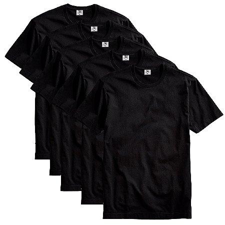 Kit com 5 Camisetas Masculina Básica Algodão Part.B Premium Preto